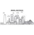brazil sao paulo architecture line skyline vector image vector image