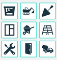 building icons set collection of digger cement vector image