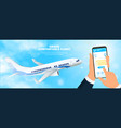 businessman ordering flight tickets on mobile vector image vector image
