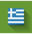Button with flag of Greece vector image