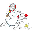 Cartoon rabbit playing tennis vector image vector image