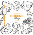 cheese collection hand drawn 2 vector image vector image