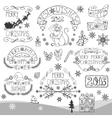 ChristmasNew Year 2016 decorationlabelsLinear vector image