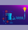creative light bulb idea 2019 new year vector image vector image