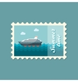 Cruise transatlantic liner ship flat stamp vector image vector image