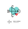 cupid bow and arrow archery line icons wedding vector image vector image