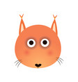 cute red fox face baby animal head vector image