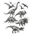 dinosaurs in stippling technique vector image vector image