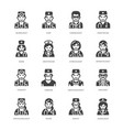 doctors professions flat glyph icons medical vector image