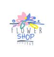 flower shop logo estd 1969 vintage badge for vector image