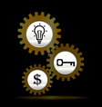 Gears gold teamwork template vector image vector image