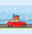 happy family traveling by car vector image vector image