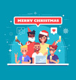 happy workers are celebrating christmas vector image