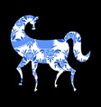 horse Gzhel painted Russian national folk craft vector image