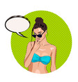 hot sexy tanned girl with speechbubble for your vector image vector image