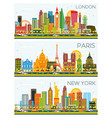 london paris new york skyline with color vector image vector image