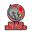 Mad Rhino Badge vector image vector image