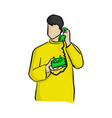 man using green desk telephone with vector image vector image