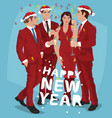 men and woman in red celebrate new year vector image vector image