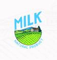 milk meadow farm rural landscape vintage logo vector image vector image