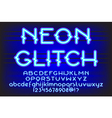neon glitch font 01 vector image vector image