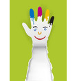 paper hand with a smiling face and paint stains vector image vector image