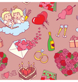 pattern with valentines doodles vector image vector image
