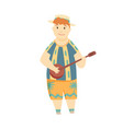 positive man playing ukulele happy hawaiian boy vector image