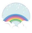 rainy over rainbow and cloud vector image vector image