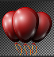 realistic dark red balloons with ribbons vector image vector image