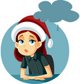 sad and depressed girl spending christmas alone vector image vector image