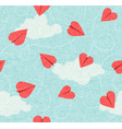 seamless valentines day heart paper airplanes vector image vector image