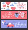 set flat design valentines day greeting cards vector image