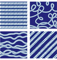 Set of Seamless nautical patterns on blue backgrou vector image
