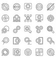 settings outline icons set cog wheel and vector image