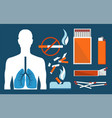 sick human lungs and harmful tobacco products set vector image
