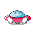smirking ufo character cartoon style vector image