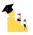 students with financial grant to get education vector image vector image