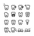 tooth icons dental and health care concept teeth vector image