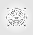 vintage logo with wooden cabin retro print design vector image