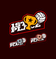 volleyball victory competition set typography vector image vector image