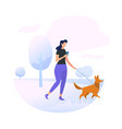 young woman character walking with dog in park vector image