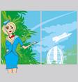 beautiful stewardess at the airport vector image