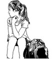 school girl with backpack vector image
