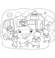 Cartoon pupils on schoolbus vector image