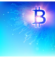 abstract blue background with shining bitcoin vector image