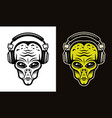alien head in headphones two styles objects vector image vector image