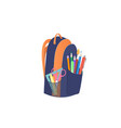 backpack with school supplies back to school vector image vector image