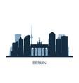berlin skyline monochrome silhouette vector image vector image