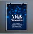 blue merry christmas celebration flyer template vector image